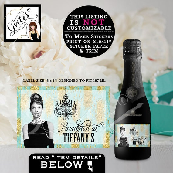 "Breakfast at Tiffany's MINI CHAMPAGNE bottle label, stickers, Audrey Hepburn label bridal shower, birthday, bachelorette, 3x2"" 9/Per Sheet"