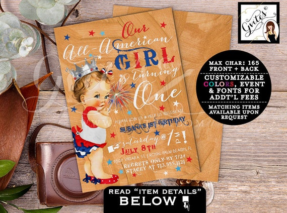 First Birthday 4th of July invitations, patriotic our ALL-AMERICAN Girl is turning one, rose gold red white & blue. PRINTABLE.