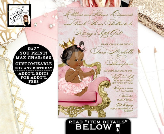 Ribbons and bows diamonds pearls BABY SHOWER, baby girl, pink and gold African American baby shower invitations, digital invitations, 5x7.