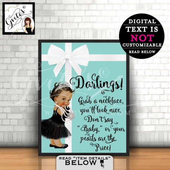 Baby SHOWER Necklace Game Sign, Grab a necklace don't say baby game sign, printable game signs, 8x10,{MED/BRUNETTE} Instant Download