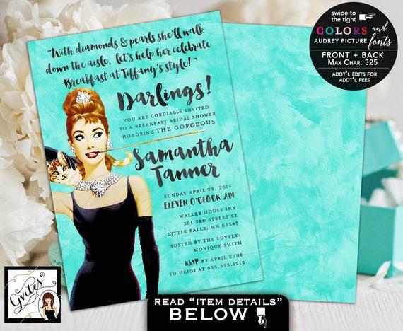 Breakfast bridal shower invitations, Audrey Hepburn custom invites, personalized invitation wedding shower, lingerie Gvites 5x7 double sided