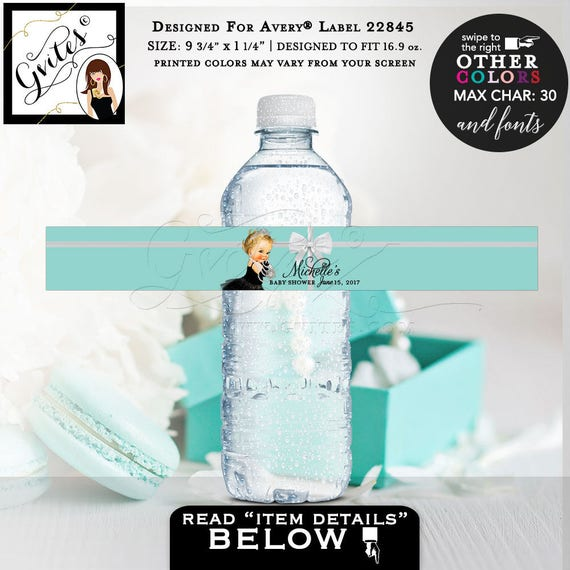 Breakfast At Baby Shower Water Bottle Labels Blue Water Stickers