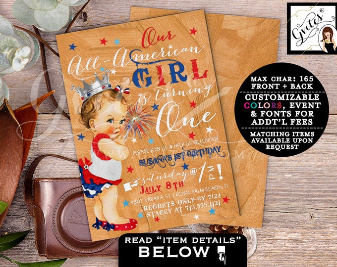 First Birthday 4th of July invitations, patriotic our ALL-AMERICAN Girl is turning one, rose gold red white & blue. PRINTABLE. Gvites