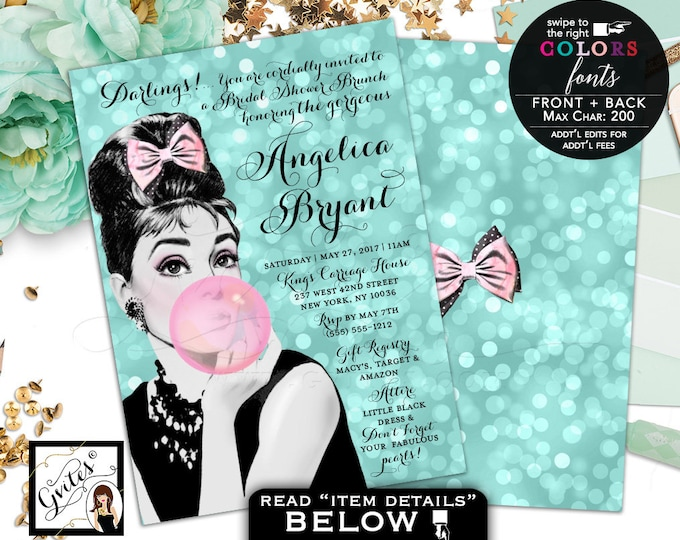 Breakfast at Tiffany's Bridal Shower invitation Audrey Hepburn wedding shower, DIGITAL 5x7, double sided, customizable Audrey party themed.