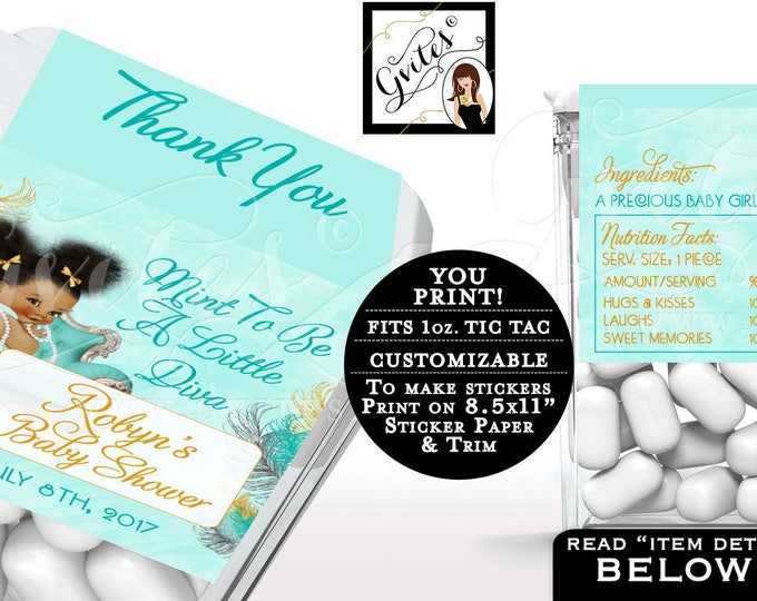 Baby Shower Tic Tac labels, candy wrappers, stickers favors gifts, ethnic baby girl decor, blue gold & silver. 8/Per PDF Sheet.