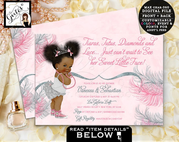 Tiara baby shower invitation, African American princess, pink and silver watercolor, tutus, diamonds pearls, digital file, 7x5 double sided.