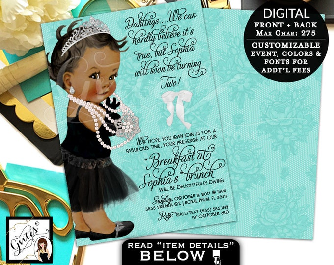 Baby and Co Brunch invitation, 2nd birthday breakfast at invites, pearl invite, African American princess lace white bow, double sided, 7x5.