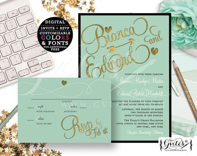 Mint Green and gold Wedding Invitations & Gold Wedding Invitation, Custom invites, wedding personalized digital file, gold glitter