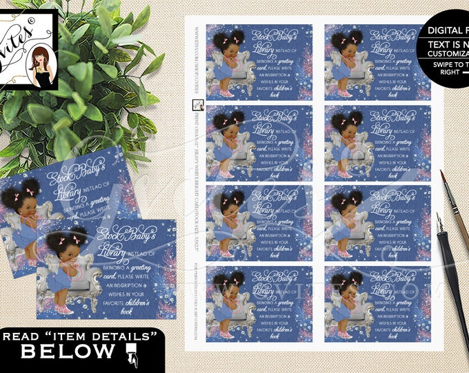 "Book for baby shower, insert, card, book baby request cards, denim and diamonds baby shower {3.5x2.5""/ 8 Per Sheet}"