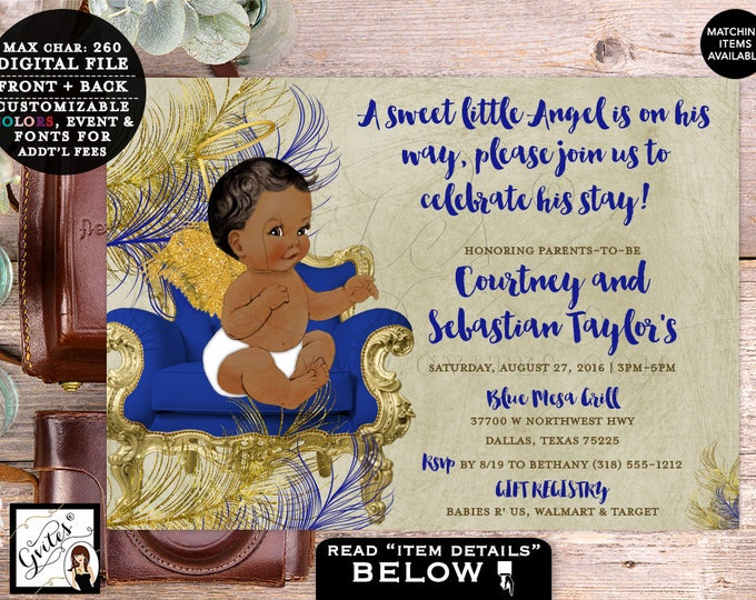 """Gold and Blue Boy Invitations, Angel Baby Shower Invitation, Vintage Printable Invites, A little angel is on the way 7x5"""" DIGITAL FILE ONLY!"""