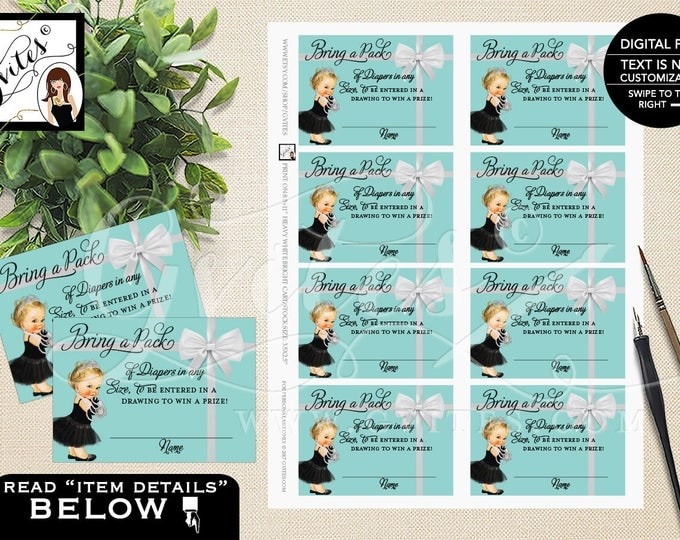 """Diaper Raffle Baby Shower Inserts, Baby and Co Baby Shower Party Printables, DIY, Digital File ONLY! 3.5x2.5"""" 8/Sheet.  #BATGBB102"""
