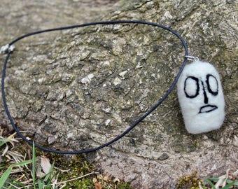 Needle Felted Napstablook Necklace // Undertale // Napstablook Jewelry // Handmade Necklace // Felted Necklace // Felt Pendant