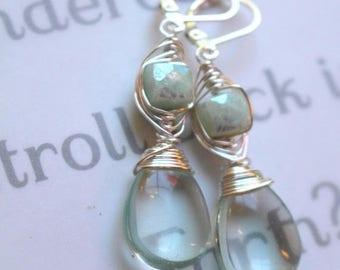 earrings, fluorite earrings, amazonite earrings, green earrings, bohemian earrings, boho chic earrings, gift for her, green, lever back