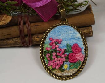 Necklace, pendant with hand embroidery, pendant with flower, gift for women, Ribbonwork,