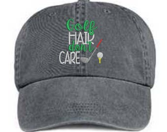 Embroidered Golf Hat/ Golf Hair Don't Care Hat/ Messy Hair Hat/ Golf Hat/ Pigment Dyed Golf Hat/ Golf Baseball Cap/ Distressed Golf Hat