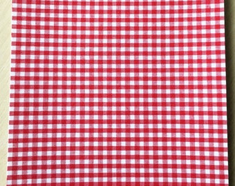 Fabric adhesive pattern: red gingham 200 x 150 mm (A5)