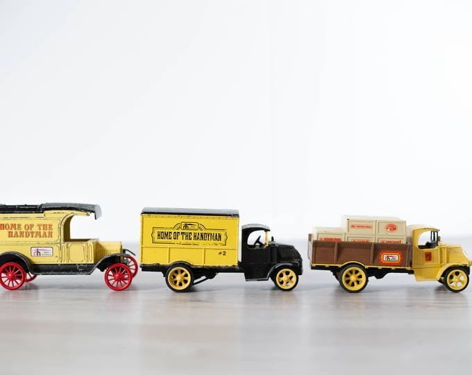 Vintage Home Hardware Trucks / Collectible Yellow Toy Truck Coin Banks / Metal Piggy Banks with Red Wheels
