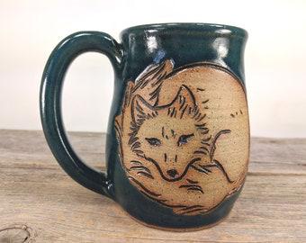 Arctic Fox Mug 16 oz - Gift-For-Her - Large Mug for Coffee - Sassy Mug - Cute Fox Mug - Nature Inspired - Office Mug - Mesiree Ceramics