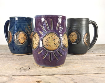 Moon Mug 16 oz - Moon Phases Art - Moon Phase - Unique Pottery Mug - Nature Inspired Mug - Tea Mug Stoneware - Statement Mug - Mesiree