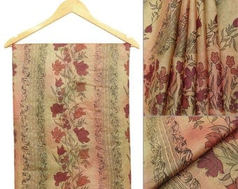 Free Shipping Indian Vintage Traditional Ucycled Pure Silk Saree Floral Printed Beige Art Deco Craft Fabric Sari PS48940