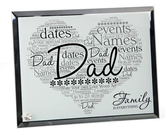 Dad Personalised Word Art Glass Plaque