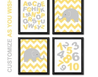 kids playroom decor elephant, alphabet numbers kids room decor, elephant nursery numbers abc letters, ABCs toddler room, alphabet nursery