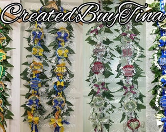 Personalized MONEY Maile lei with ribbons - Graduation/Prom/Wedding/Celebration LEI *made to order*