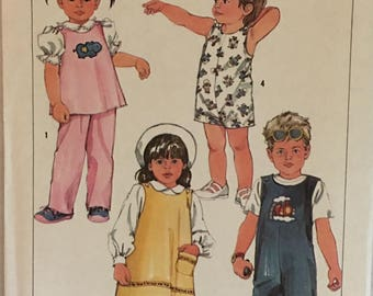 Simplicity Pattern 6730 Childs Pullover Sundress, Jumper, Top, Overalls and Pants UNCUT Size: 3