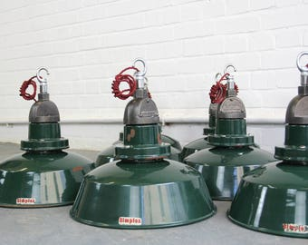Green Enamel Industrial Pendant Lights By Simplex Circa 1950s
