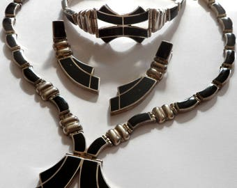 Vintage 950 Mexico, jewelry set with onyx, necklace, bracelet, earrings