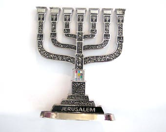 Miniature jewish menorah,temple house,Judaica,jerusalem menorah,Priestly breastplate stones