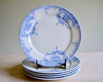 Antique Boch Frères Keramis (BFK) 'Dauphin' dinner plates, antique  dinner plates  Rococo Baroque pattern, blue and cream