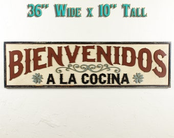 Cocina Sign Bienvenidos Cocina Wood Kitchen Sign Kitchen Wall Decor Sign For Kitchen Rustic Kitchen Sign Welcome Sign Mexican Cocina Spanish