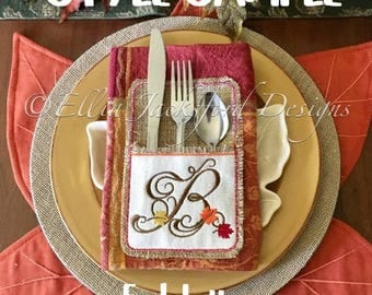 "Fall Monogram ""E""- Silverware Holder -  SINGLE LETTER  ONLY - Thanksgiving - 4 x 4 and 5 x 7 - Digital Embroidery Design"