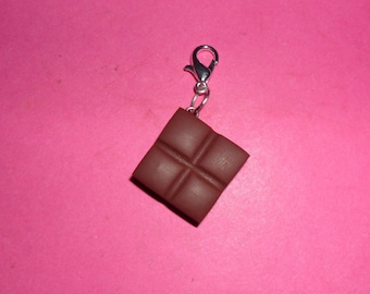 "Charms 1 ""square choco o' milk fimo"" 18x18mm"