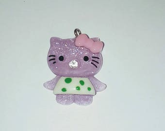 X 1 purple glitter cat kawaii 30mm