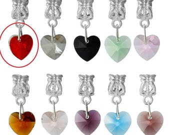 X 1 red crystal heart charm pendant and the bail
