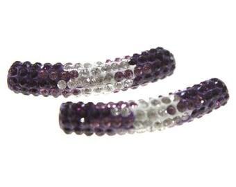X 1 large tubular shamballa lilac and white 50mm