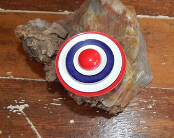 Vintage 1960's MOD scooter pin target red white blue Americana jewelry