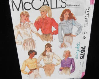 Womens Buttoned Blouses McCalls 7675 Misses Blouses Shirts Size 10 Sewing Pattern