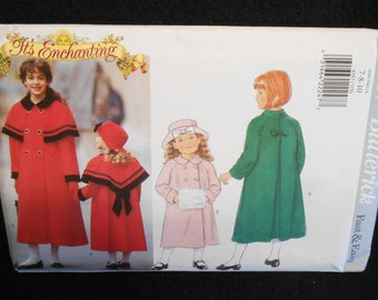 Childrens  Coat Butterick 4167 Fast Easy Girls Sizes 7-10 Capelet Muff Hat Lined