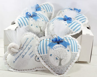 10 Personalized Favors-Heart 14 x 14 cm for birth and baptism