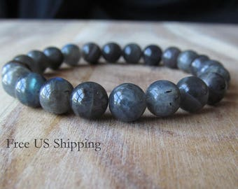8mm Labradorite Bracelet, Womens or Mens Bracelet, 8mm  Bracelet, Mens Jewelry, Gift for Men, Yoga Jewelry, Stacking Bracelet, Mala