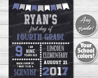 Back to School Sign, First Day of School Chalkboard Sign, PRINTABLE First Day of School Sign Boy, Any Grade Fourth Fifth Sixth High School