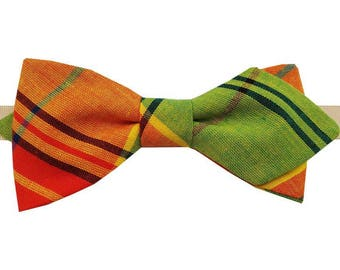 Bow tie red, orange, yellow and green madras with sharp edges