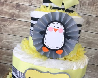 Penguin Baby Shower Diaper Cake in Pale Yellow, Grey and Black, Penguin Theme Baby Shower Centerpiece