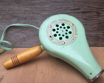 1950's Handy Hannah Hair Dryer - Works! - Mint Green with Wooden Handle.