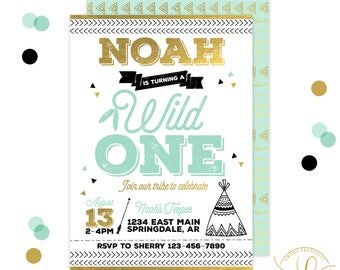 Wild One Invitation | Wild One Party | Tribal Invitation | First Birthday | 1st Birthday | Wild One Gold | Black and White Tribal Invitation