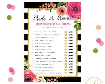 Bride or Groom Game | Bridal Shower Game Printable | Black and White Striped Bridal Shower | Kate Spade Bridal Shower | Floral Bridal Shower