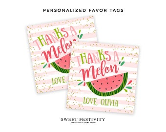 Watermelon Favor Tags, One in a Melon, Thanks a Melon, Watermelon Party, Printable Party Favor Tags, 1st Birthday, First Birthday, DIY